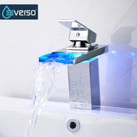 EVERSO 온도 센서 LED 수도꼭지 와이드 흐르는 물 분지의 수도꼭지 크롬 싱글 핸들 화장실 싱크