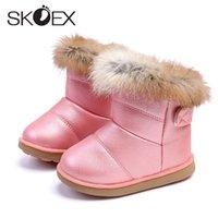 SKOEX Baby-Schnee-Aufladungen Winter-warme Kinder Weiche Booties PU wasserdicht Kaninchen-Pelz-Gummistiefel für Kleinkind-Kinderschuh EU 21-30X1024