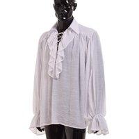 Vintage Camisa medieval Hombres Renacimiento Poeta Blanco Negro Scottish Vampire Colonial Ruffles Jabot Blusa Manga larga Pirata Camisas LJ200928