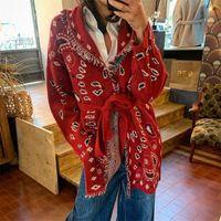 Jastie Cashmere Bandana Motif Motif Cardigan Женщины V-образным вырезом галстуки Талия с длинным рукавом зимний свитер трикотаж теплый толстый пальто 201221