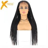 Perruques tressées synthétiques de lacets 13x6 Dentelle X-Tresse Boîte longue Cornrow Braid Faux Locs Wig Afro-américain Femmes Coiffure Partie centrale