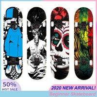 Adultos de hip-hop Crianças duplas Rocker Skate Beginner 80 * 20CM Skate Impressão Crânio Natural de madeira do bordo Quatro Rodas
