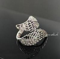Bagues de fiançailles classiques mode de mode romantique pleine d'ailes d'ange cristal bague bague luxueuse