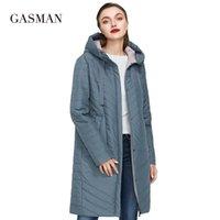 201.007 katı uzay pamuk Kadın uzun ceket ceket bahar yeni Gasman Sonbahar moda ince ince aşağı ceket Kadınlar cebi ceket hoodies