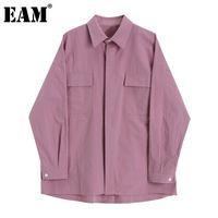 [EAM] Women Brief Pocket Big Size Long Blouse New Lapel Long Sleeve Loose Fit Shirt Fashion Tide Spring Autumn 2020 1DA204