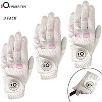 3 PCs / Set Cabretta Leather Golf Luvas para mulheres com marcador de bola Esquerda Oceano de mão direita do tamanho de aderência S M L XL 201026