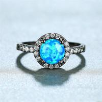 Boho Женского Blue Fire Opal Ring Мода 14Kt Черное золото Обручальные кольца для женщин Promise любви обручального кольца круглого