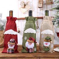 Noel Şişe Kollu Şarap Şampanya Şişeleri Çanta Odası Dekor Şarap Şişesi Paketleme Santa Sacks Dekorasyon IIA750 Yemek