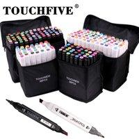 Touchfive 36/60/80/168 Couleurs Artiste Alcool Marqueurs Double Tip Art Marqueurs Twin Sketch Marqueurs à base d'alcool Permanent 201222