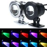 Black Silver Shell 10W 15W Impermeabile RGB LED Proiettori subacqueo Giardino esterno Spotlight Lampada 85-265V DC / AC 12V