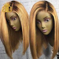 180% Bal Sarışın 13x4 Ombre Dantel Ön İnsan Saç Peruk T1B / 27 Brezilyalı Remy Saç Kısa Bob Peruk Siyah Kök Ağartılmış Knot Bib