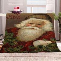 الفانيلا بطانية الصوف المرجان بطانية تكييف الهواء عيد الميلاد 3D سانتا كلوز مطبوعة لحاف العليا للسرير لينة 150X130CM