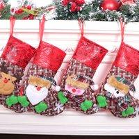 Горячие продажи 2020 Малых Рождественского чулок мешок подарок украшение рождественской елки Подвеска плед Рождественский чулок сумка дропшиппинг F4901