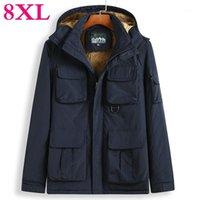 6xL 플러스 7xl 크기 8xl 5XL 남자 자켓 두꺼운 따뜻한 파카 양털 모피 후드 겨울 코트 윈드 브레이커 재킷 Mens1