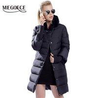 Miegofce зима утка вниз куртка женщины длинное пальто теплые парки густые женские теплые одежды кролика меховой воротник высокого качества Y201001
