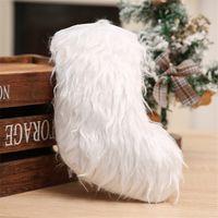 장식 부티크 흰색 플러시 크리스마스 F102108 포장 크리스마스 스타킹 패치 워크 양말 크리스마스 사탕 선물 가방 지갑 저장