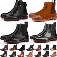 2021 Estilo Bottoms Rojos Sneaker Men Boot Spikes Suede Cuero Rojo Sole Hombres Zapatos Super Perfect Melon Motorcycle Boot for Men