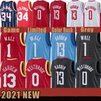 2021 Новый Джеймс 13 Хардин Баскетбол Джерси Рассел 0 Westbrook Mens Hakeem 34 Olajuwon Cheap John 1 Wall Mesh Retro Black