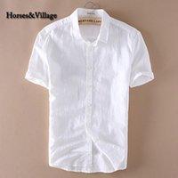 2020 Sommer-Männer 4XL Casual Shirts feste weiße Kurzarm Baumwolle Leinenkleid Shirts Camisa Masculina