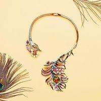 2020 nuovo disegno 7 colori eleganti di cristallo collana Coppie di pavone Choker delle donne del partito da sera di modo di lusso degli accessori dei monili