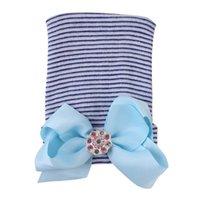 INS Newborn Infants Winter Hat with Big Bow Shiny Crystal Diamond Hair Band Headbands Baby Girls Cute Tube Cap Beanies Party Headwear LY1030