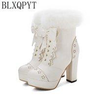 BLXQPYT New Winter Warm women Boots 2020 Big Size 34-48 Knee High Boots Zip High Heels Long Platform Knight shoes woman 8759