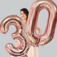 Numéro de 16 pouces Ballons d'aluminium d'aluminium Rose Gold Argent Digit Figure Ballon Balloon Enfant Adulte Anniversaire Decor Fournitures de fête