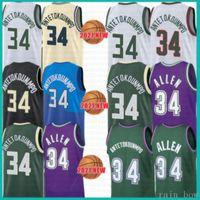 2021 Neues Basketball Jersey Giannis 34 AntetokounMPO Herren Günstige Ray 34 Allen Mesh Retro Jugend Kinder Armee Lavendel
