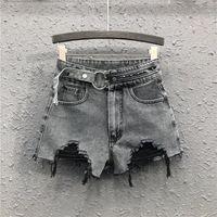 Frauen Jeans 2021 Frühlingsfrauen High-taillierte Denim-Shorts waren dünne Schnalle Nieten breites Bein lose Loch Frauen1