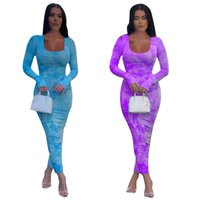 Autumn Sexy Club Night Party Women Tie Dye Galaxy Print Long Sleeve Bodycon Stacked Ruched Maxi Midi Dress Active Wear