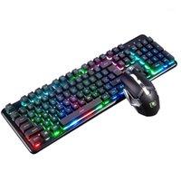 Teclado Mouse Combos Colorido Cool Rainbow PC Backlit Impermeável Sem Fio Sem Fio Recarregável Home Ergonômico Jogos Combo 2400dpi para Xinmen1