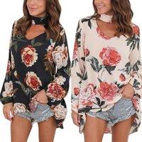 2020 Jesień V Neck Shirts Topy Halter Kobiet Z Długim Rękawem Szyfonowy Blusas Casual Loose Flor Floral Printed Bluzki1