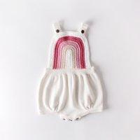 아기 소녀 romper 핑크 화이트 레인보우 니트 가을 봄 유아 복장 의류