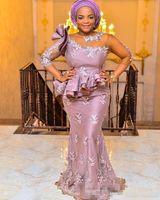 빈티지 나이지리아 아프리카 정장 댄스 파티 드레스 저녁 마모 슬리브 핑크 3D 꽃 프릴이 Peplum 인어 플러스 사이즈 파티 드레스