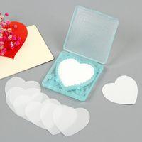 휴대용 심장 모양의 종이 비누 처분과 함께 상자 미니 비누 종이 여행 목욕 종이 손 세척 비누 F3962