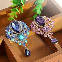 Pines, Broches Diseño elegante Gran Cristal Diamante Rhinestones Lágrima Cuello Cuello Boda Broche Pines Accesorios Mujeres Joyería