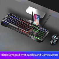 2020 Novas Sete Cores de Retroiluminação Gaming Keyboard Mouse Teclados USB com fio para PC Desktop Laptop Gamer