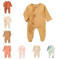 Ins Kinderkleidung Baby Reißverschluss Jumpsuits Strampler Rüschen Footies Infant Winter Herbst Langarm Oneses Neugeborene Kleidung Bodysuits 486 K2
