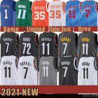 2021 New Kevin Basketball Jersey 7 Durant Kyrie Mens 11 Irving Mesh 72 Biggie Retro pas cher bleu