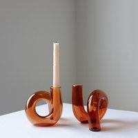 1pc verre Vases Vase de fleurs Effacer Bougeoirs pour mariage Décoration Centerpieces Table Bougeoir Centerpieces