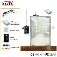 Kit de système de contrôle d'accès RFID Kit de porte en bois Set de porte + verrouillage magnétique électrique + carte d'identité de carte d'identité + fournisseur d'alimentation + bouton de sortie1