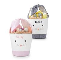 Мультфильм зайчик сумки пасхальный галстук кролик корзина розовый плед пасхальный день подарок сумка милые заготовки кролика ведро для детских яичных конфеты рука пасхальная сумка