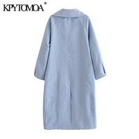 KPYTOMOA Women Fashion Double Breasted Loose Woolen Coat Vintage Long Sleeve Side Pockets Female Outerwear Chic Overcoat 201103