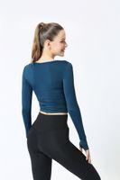 여성 스포츠 정장 단단한 컬러 여자 의류 짧은 슬림 긴팔 실행 댄스 퀵 건조 훈련 러닝 재킷