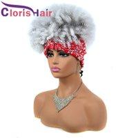 Afro Kinky Kıvırcık Eşarp Bandı Peruk Beyaz Ombre Kısa Kıvırcık Sentetik Peruk Siyah Kadınlar Için 1BT60B Isıya Dayanıklı Türban Wrap Baş Bandı Peruk