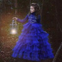 Dentelle organza fille Tiers Robes à manches longues robe de bal d'enfants Pageant Robes de mariée cou bleu royal filles Robes pour le mariage
