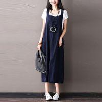 Günlük Elbiseler ZANZEA Kadınlar Yaz Vintage Strappy Pamuk Keten Gevşek Katı Uzun Askı Elbise Kolsuz Midi Vestido Artı Boyutu