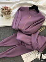 Traje de la moda Traje de la mujer Cadena de temperamento dulce Chaleco de punto Chaqueta casual Pantalones elásticos de tres piezas A1111