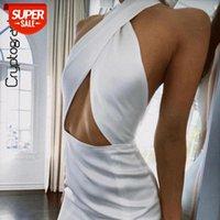 Kriptografik Sıcak Seksi Backless Kolsuz Yaz Halter Mini Elbiseler Kıyafetler But-Out Kulübü Parti Elbise Bodycon Vestidos # NQ8E