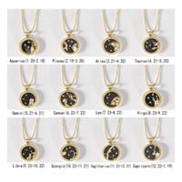 12 Konstelacja Naszyjnik Para Naszyjnik Gold Day and Night Coin Clavicle łańcuch łańcuch Sweter Walentynki Prezenty W-00595
